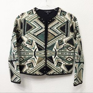 Topshop open front embroidered jacket